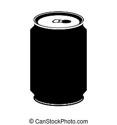 silhouette monochrome with canned drink vector illustration