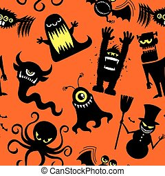 Silhouette Monsters Pattern