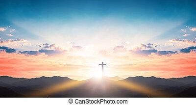 silhouette, montagne, fond, coucher soleil, croix