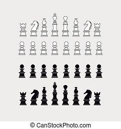 silhouette, morceaux échecs