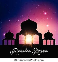 silhouette, moschea, cielo, ramadan, contro, fondo, notte, kareem