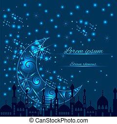 silhouette, moskee, groet, maan, halvemaan, kaart