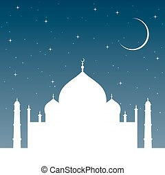 silhouette mosque at sunset with stars and night sky. Islam religion architecture