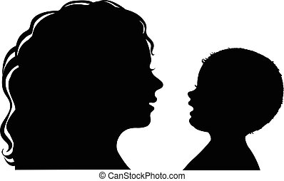 Silhouette mother and baby - Black and white silhouette...