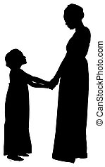 silhouette mother daughter with clipping path