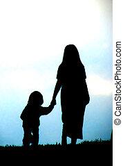 silhouette-mother, dziecko