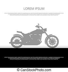 silhouette, motocicletta, manifesto, -, disegno, motocicletta, fondo, sport