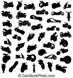silhouette, motocyclettes