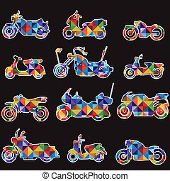 silhouette motorbike icons