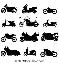 silhouette motorbike icons in vector style.