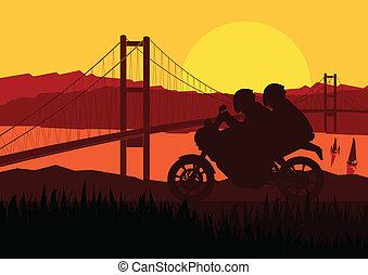 silhouette, motorfiets, passagiers, motorfiets