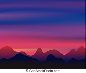 Silhouette mountain on sunset background
