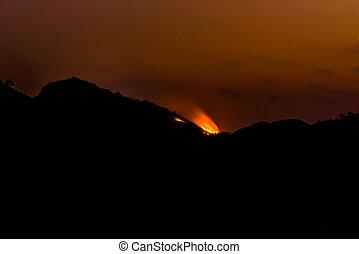 silhouette Mountain sunset