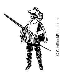 silhouette, mousquetaire, armé