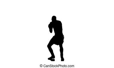 silhouette, mouvement, ombre, boxing., lent