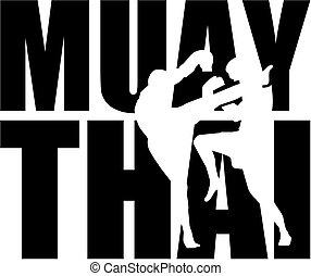 silhouette, muay, thailändisch, wort, freisteller