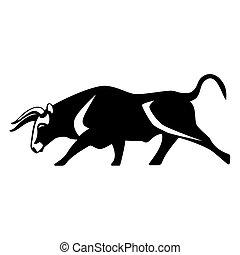 silhouette, mucca, muscolare, realistico, nero, toro, aggressivo, icona