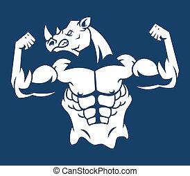 silhouette, muscolare, rinoceronte