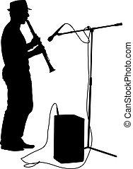 silhouette, musicista, giochi, il, clarinet., vettore,...