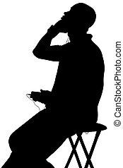silhouette, musik, mann