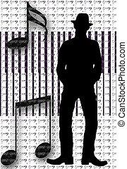 silhouette, musikalisches, mann