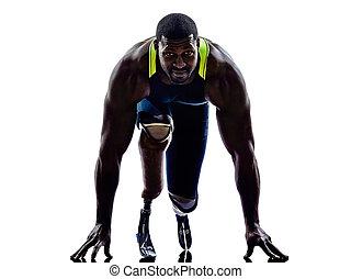 silhouette, muskulös, läufer, hintergrund, behindertes, mann, kurzstreckenläufer, weißes, prothese, eins, beine