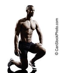 silhouette, muskulös, mann, afrikanisch, bauen, junger
