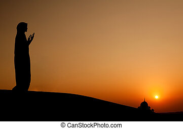 silhouette muslim woman praying - silhouette of a muslim...