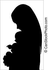 silhouette, mutter, mit, baby