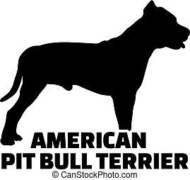 silhouette, name, terrier, amerikanische , schwarz, stier, ...