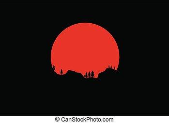 silhouette, natura, in, il, fondo, di, luna