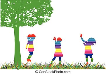 silhouette, nature., bambini