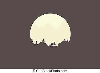 Silhouette nature on the background of the moon