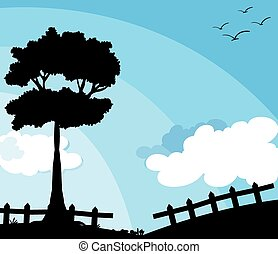 Silhouette nature scene with tree