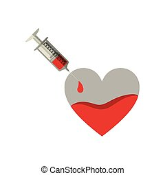 silhouette Needle syringe donate blood in heart shape
