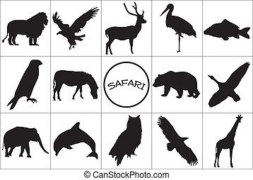 silhouette, nero, animals.