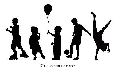 silhouette, nero, bambini giocando
