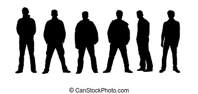 silhouette, nero, bianco, persone