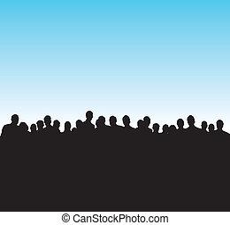 silhouette, nero, persone