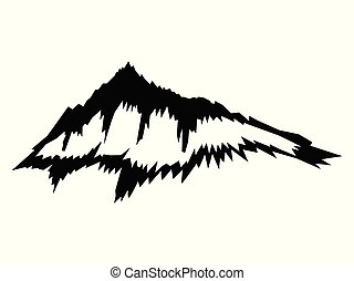 silhouette, nero, vettore, montagna