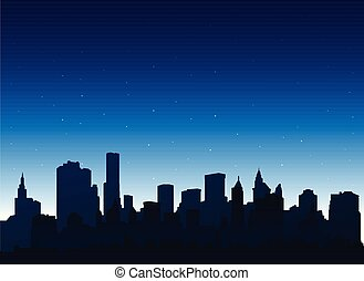 Silhouette new york city at night background with cityscape