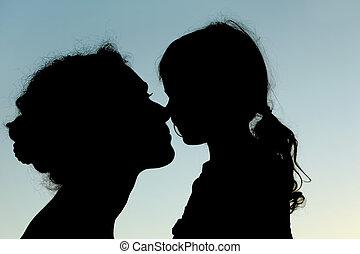 silhouette, nez, ciel, toucher, mère, vue, fille, côté