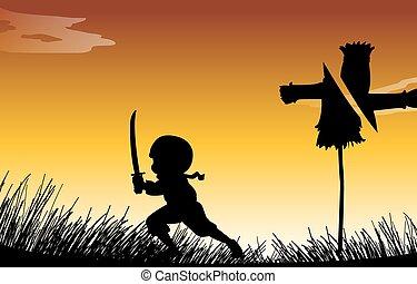 silhouette, ninja, con, spada