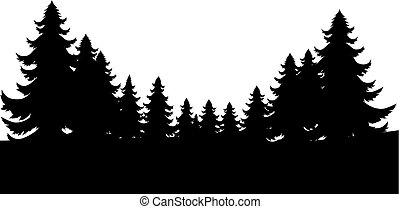 silhouette, noël arbres