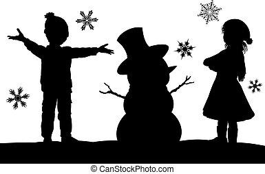 silhouette, noël scène, gosses, bonhomme de neige, confection