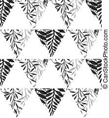 silhouette, noir, blanc, pattern., naturel, triangles, vecteur, arrière-plan., géométrique, feuilles, herbe, texture, fougère