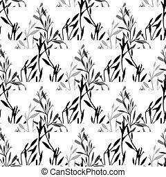 silhouette, noir, blanc, pattern., naturel, triangles, vecteur, arrière-plan., géométrique, herbes, feuilles, texture, branches