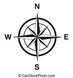 silhouette, noir, compas