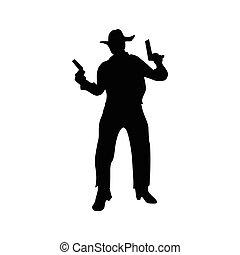 silhouette, noir, cow-boy