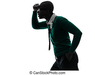silhouette, noir, inquiété, regarder loin, africaine